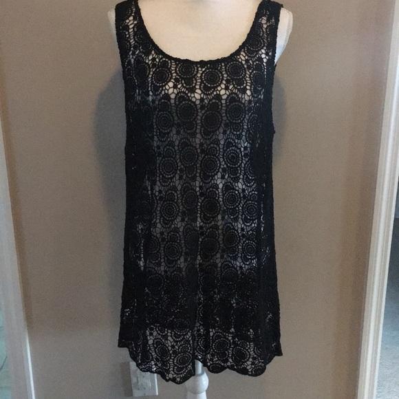 b1f4a33b045 LOFT Dresses   Skirts - Loft Black Lace Tank Top Dress or Cover-up